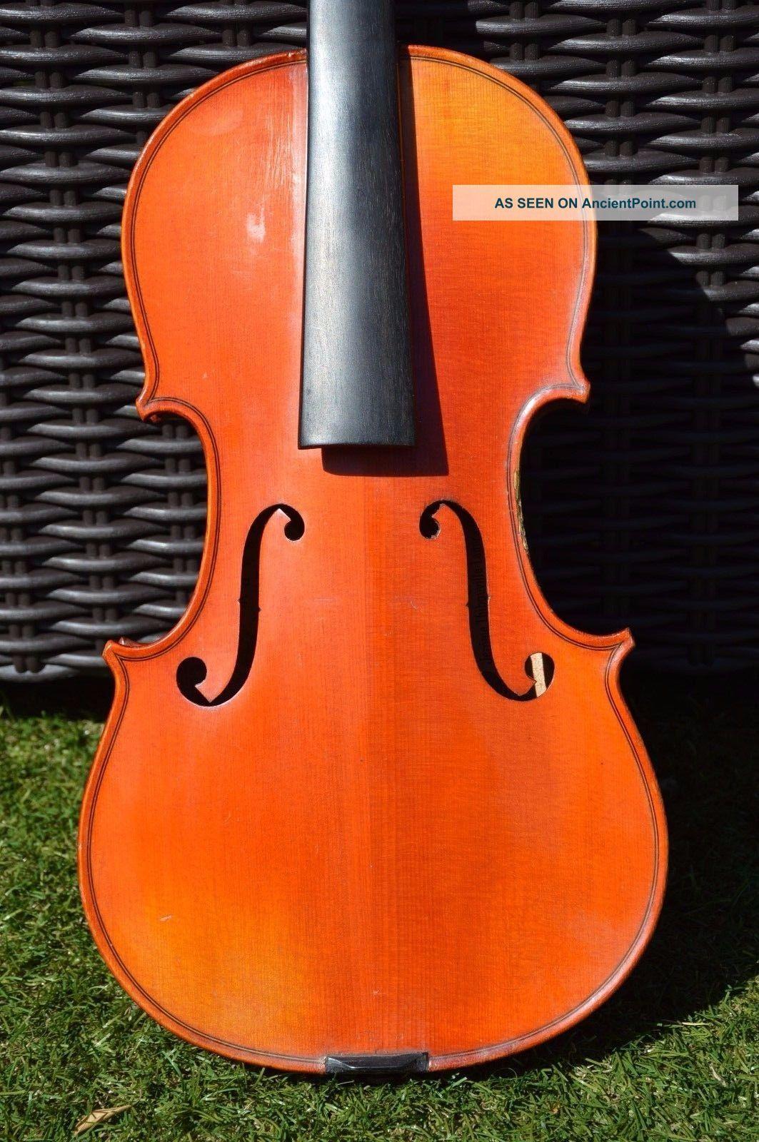 Breton Old French Violin Signed On Back 4/4 String photo
