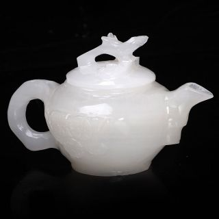 100 Natural White Hetian Jade Hand Carved Plum Pattern Teapot W Branch Lid photo