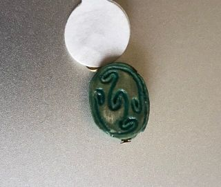 Wow Gorgeous Green Glazed Ancient Egyptian Scarab Beetle W Scroll Design Nr photo