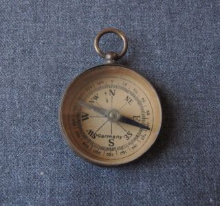 Antique Pocket Watch Shaped Gilt Brass Compass Pendant Fob Germany photo