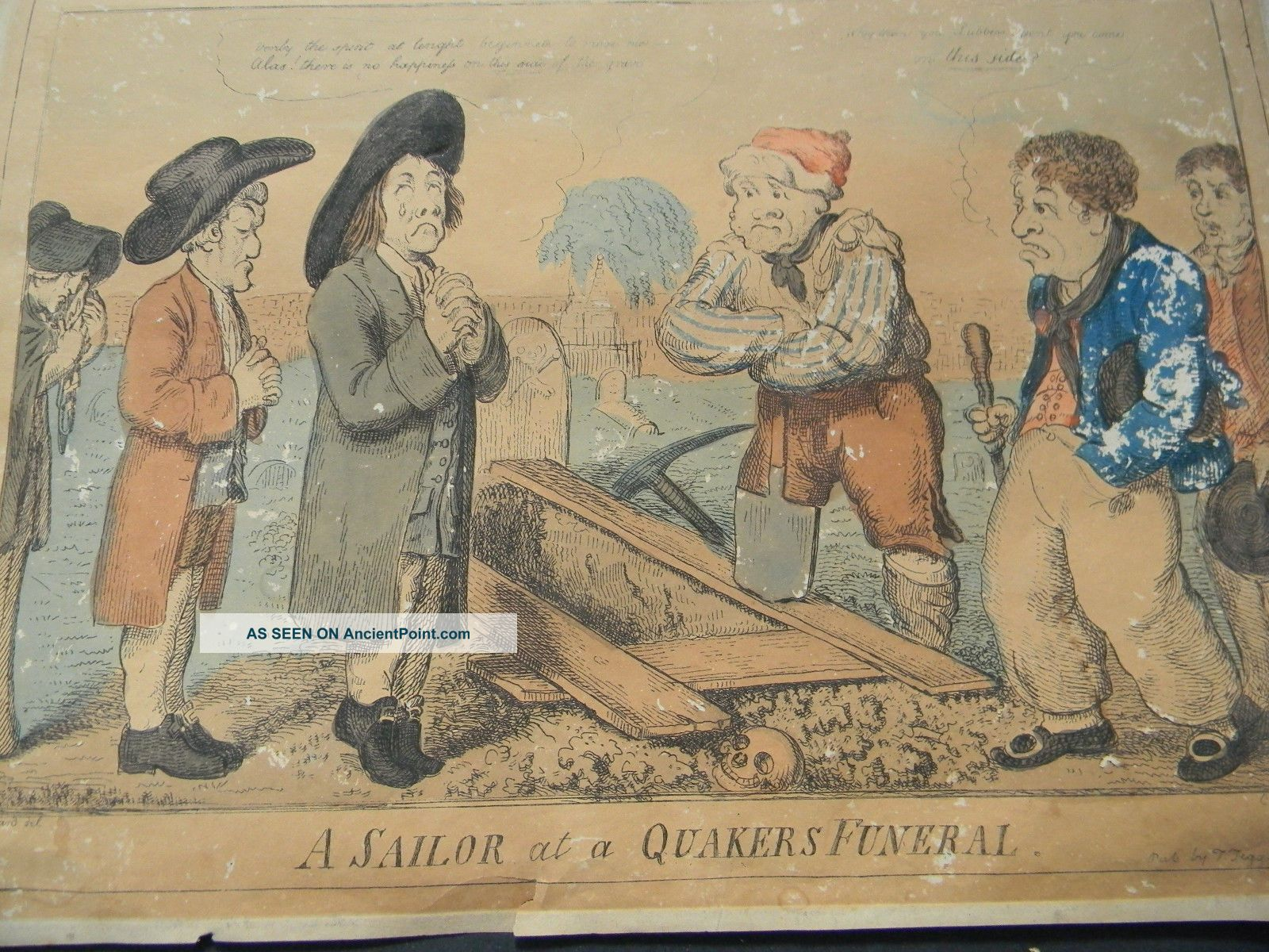 C1810 Antique Hand Colored Etching By Crushank - A Sailor At A Quaker ' S Funeral Other Maritime Antiques photo