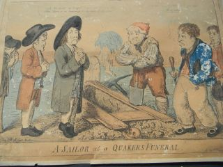 C1810 Antique Hand Colored Etching By Crushank - A Sailor At A Quaker ' S Funeral photo