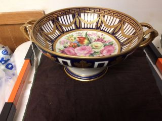 Exceptional Old Paris Porcelain Hand Painted Large Bowl Roses Gold & Cobalt Blue photo