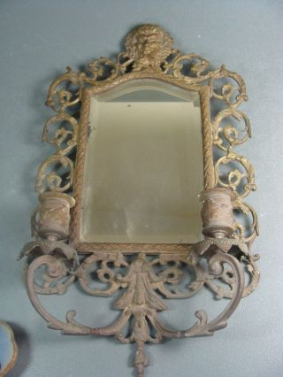 Antique Ornate Wall Hung Beveled Glass Mirror Candleholders Bacchus photo