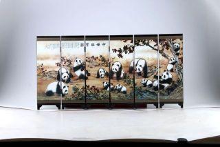 Good Chinese Handwork Painting Panda Screen Scroll photo