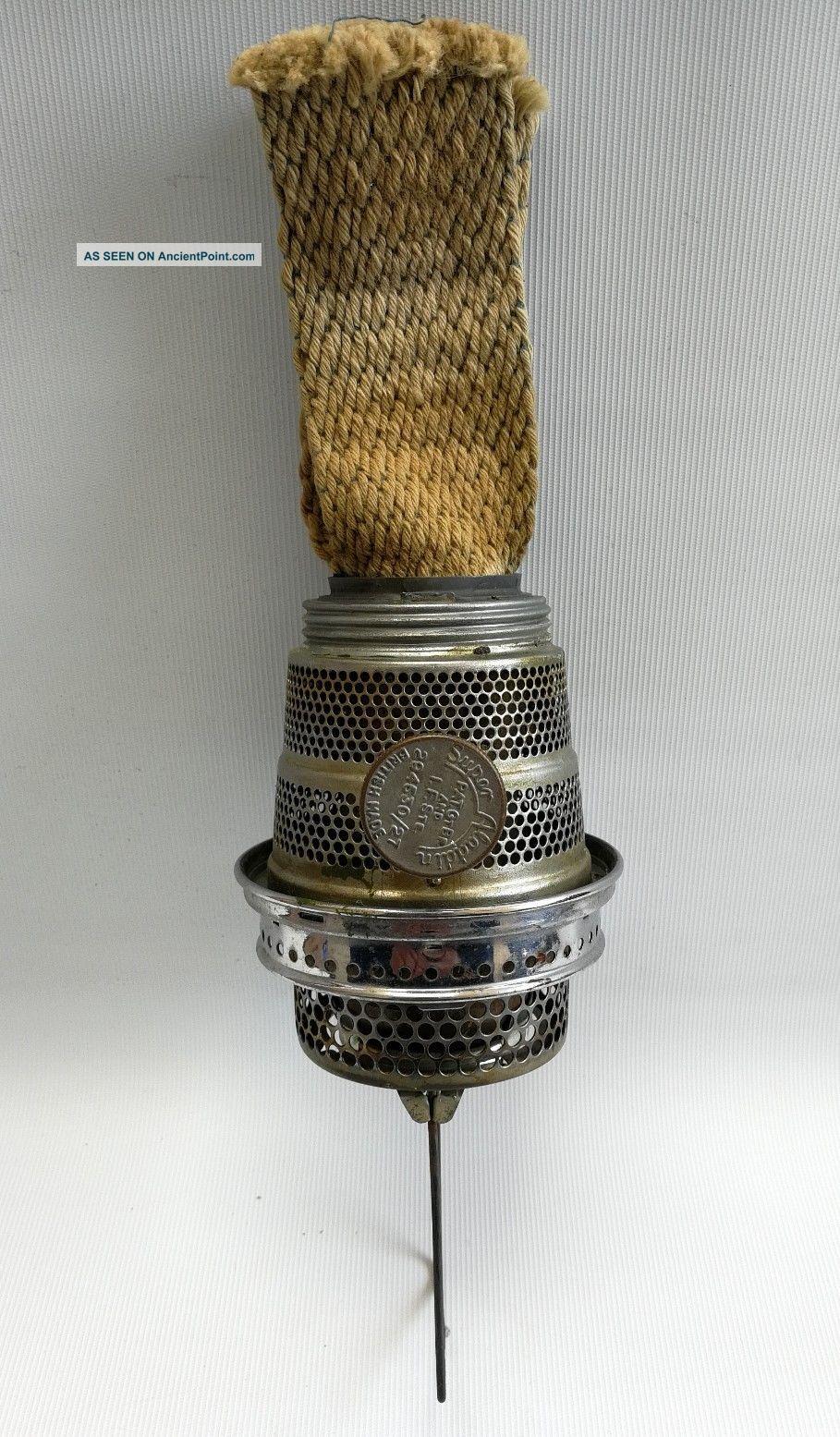 Vtg Aladdin (model 27) Oil Lamp Burner With Loxon Gallery - Nickel Plate 20th Century photo