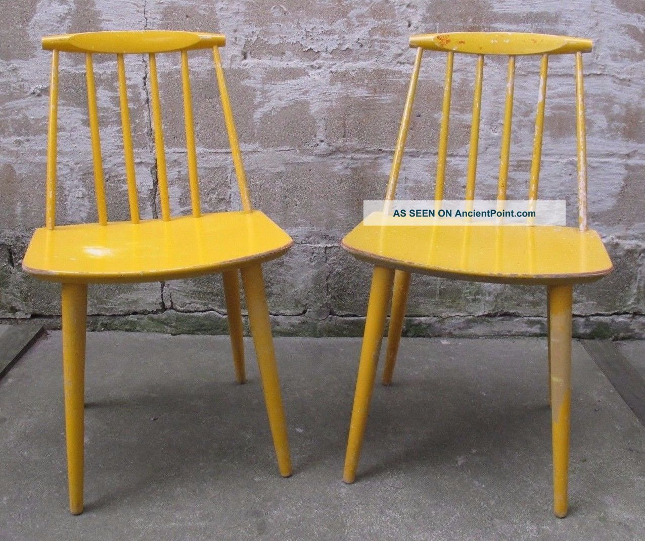 Pair Folke Palsson Danish Modern Spindle Back Side Chairs Dining Mid Century J77 Post-1950 photo