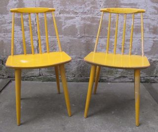Pair Folke Palsson Danish Modern Spindle Back Side Chairs Dining Mid Century J77 photo