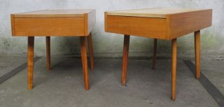 Pair (2) George Nelson Herman Miller Leather Top End / Side Table Mid Century photo