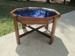 Art Deco 1930`s 40`s Wood & Cobalt Blue Mirror Low Coffee / Cocktail Table photo