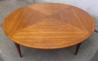 Large Mid Century Modern Round Walnut Coffee Table By Imperial Mid Century Lane photo