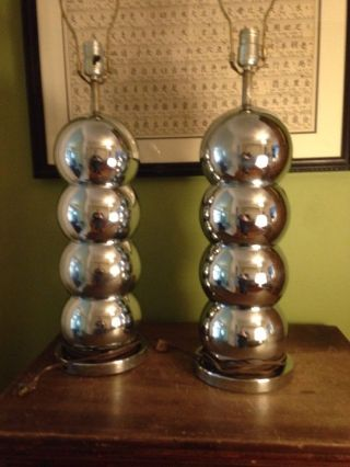 George Kovacs Chrome Ball Table Lamp Mid Century Modern Eames Atomic Pair photo