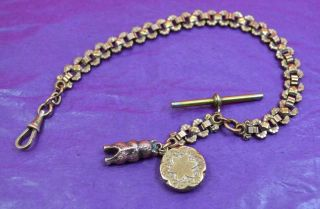 Antique Art Nouveau Fob Watch Chain With Medalion & Teddy Bear Marks photo
