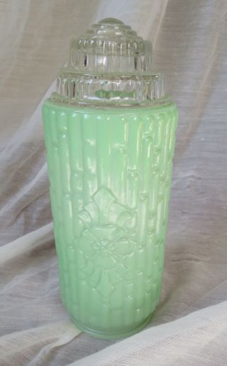 Art Deco Green Glass Bathroom Light Shade With Floral Emblem photo