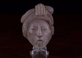 Mayan Crystal Stone Maskette - Antique Pre Columbian Statue - Olmec photo