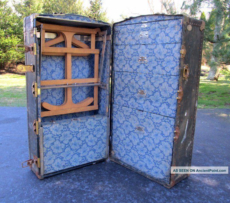 Shabby Vintage Antique Olyslager Black Steamer Wardrobe Flat Top Trunk Table 1900-1950 photo