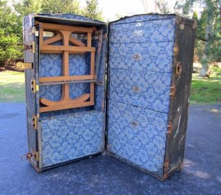 Shabby Vintage Antique Olyslager Black Steamer Wardrobe Flat Top Trunk Table photo