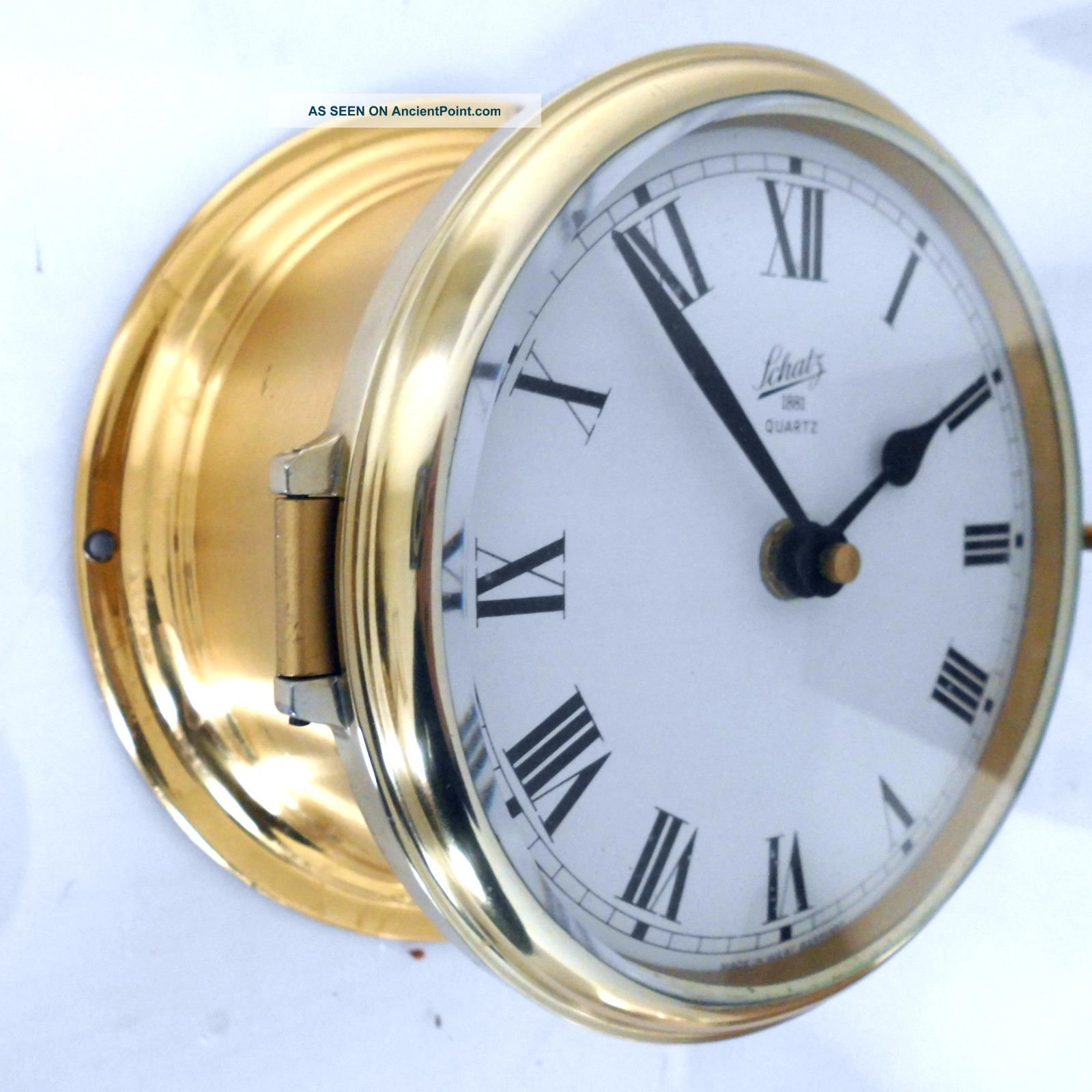 Old August Schatz Brass Ships Clock Ocean Quartz Made In West Germany Junghans Clocks photo