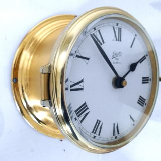 Old August Schatz Brass Ships Clock Ocean Quartz Made In West Germany Junghans photo