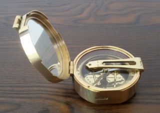 Brunton Stanley London 1917 Brass Compass Vintage Natural Sine Nautical Gift photo