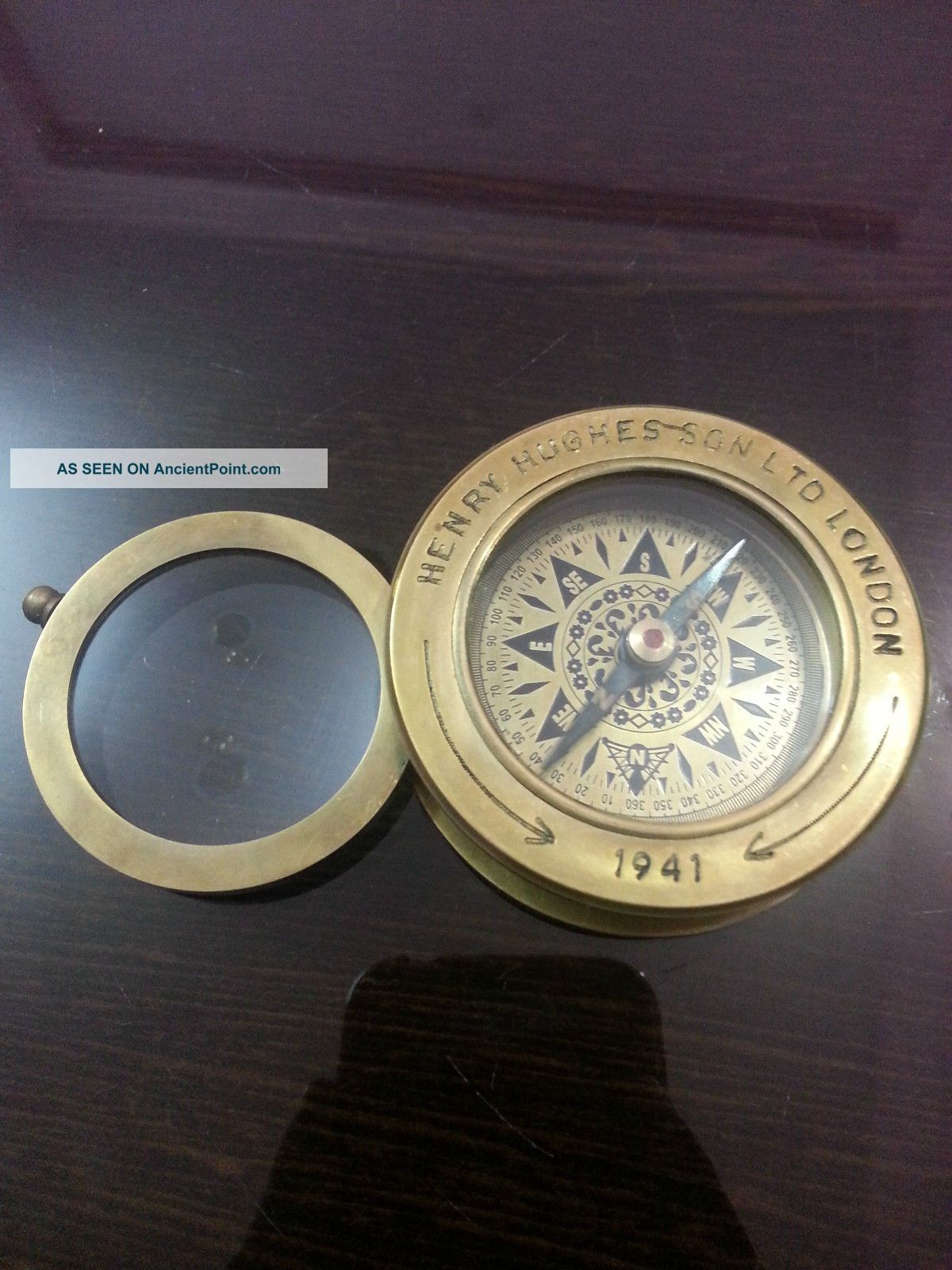 Nautical Brass Compass With Magnifier Lens Henry & Hughes Son Vintage Compass Compasses photo