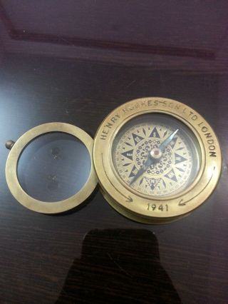 Nautical Brass Compass With Magnifier Lens Henry & Hughes Son Vintage Compass photo