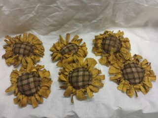 Primitive Bowl Fillers/ornies/yellow Sunflowers/brown Plaid Center/grunged photo