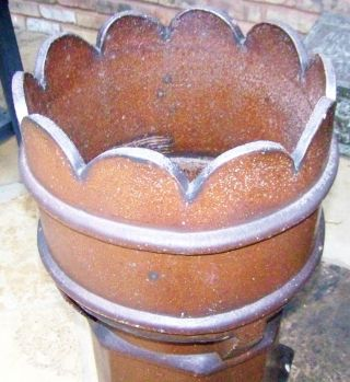 Large Vtg Old Authentic Antique Terra Cotta Crown Roof Chimney Pot Garden Decor photo