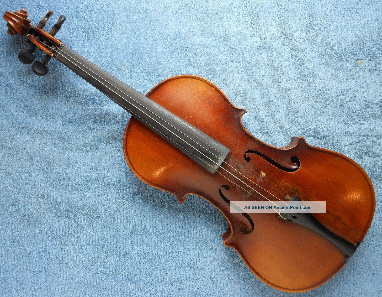 Antique Violin With 1933 Simon Rosen Repair Label String photo
