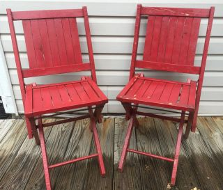 Pair 2 Matching Simmons Co.  Slatted Wood / Metal Folding Chairs - Painted Red photo