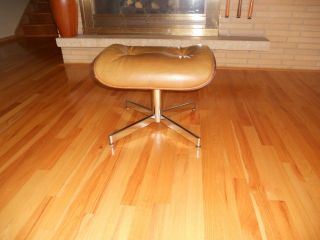 Mid Century Plycraft Selig Eames Style Lounge Chair Ottoman Foot Rest Chrome photo