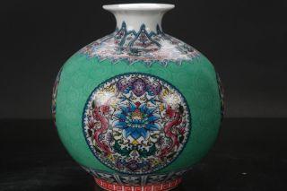 Chinese Enamel Cloisonné Porcelain Painted Flower Vase W Qianlon G Mark H211 photo