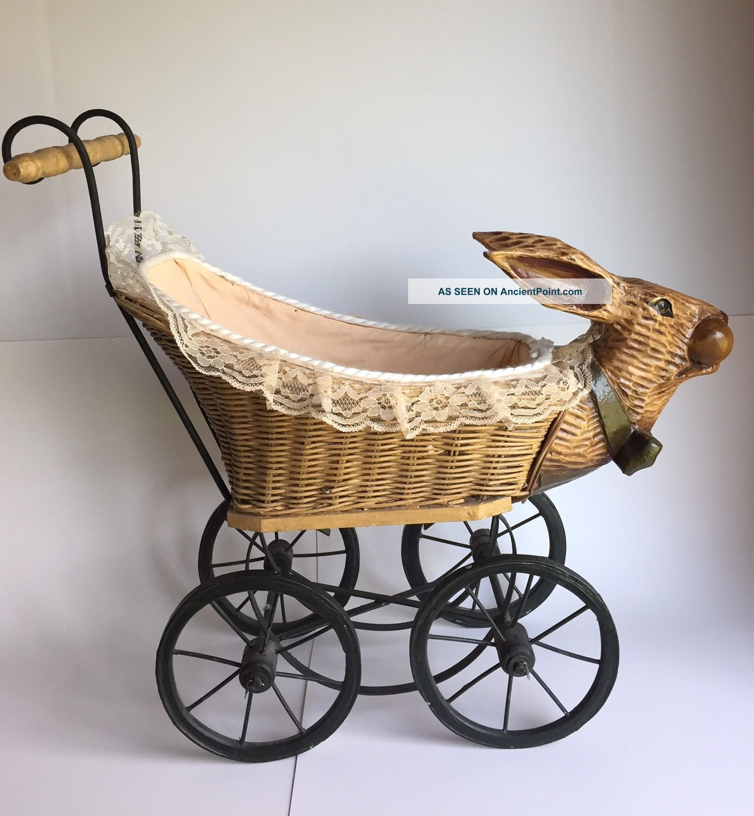 Vintage Wicker Baby Buggy Rabbit Bunny Pram Baby Carriages & Buggies photo