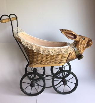 Vintage Wicker Baby Buggy Rabbit Bunny Pram photo