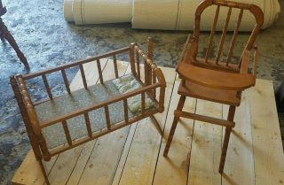 Vintage Jenny Lind (?) Doll Cradle And High Chair - Taiwan photo