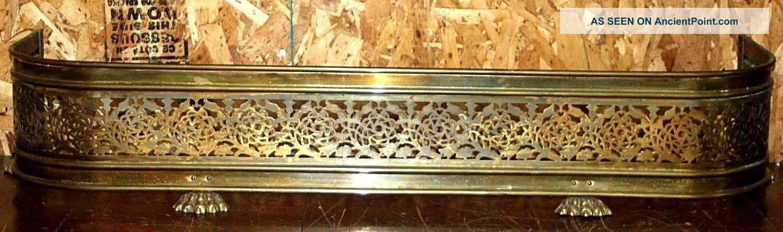 Antique /vintage Pierced Brass Fireplace Fender W/ Rose Design & Claw Feet.  42