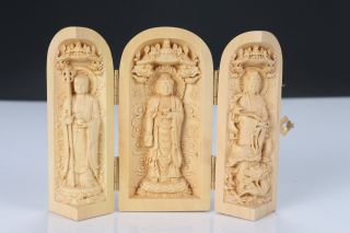 Decorated 100 Boxwood Highly Difficulty Carved Buddha Statue Folding Box Z1 photo