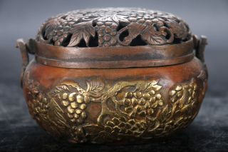 Chinese Carving Pure Copper Gold - Plated Grape Incense Burner Qianlong Mark E894 photo