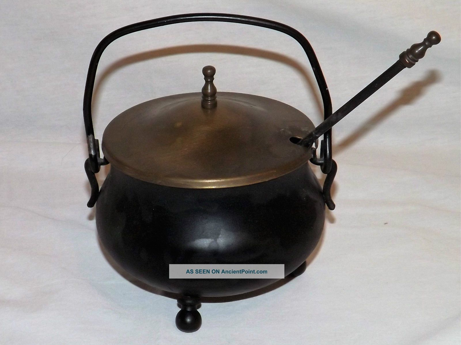 Vintage Smudge Pot Cauldron Kettle W Brass Lid Fire Starter Pumice Wand Antique Hearth Ware photo