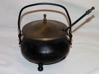 Vintage Smudge Pot Cauldron Kettle W Brass Lid Fire Starter Pumice Wand Antique photo