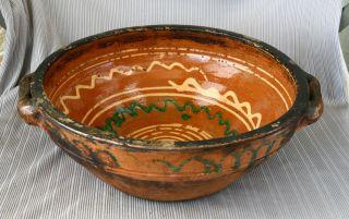 Antique 19`c Ottoman Empire Glazed Pottery Ceramic Fruit Dish Soup Bowl - 30 Cm photo