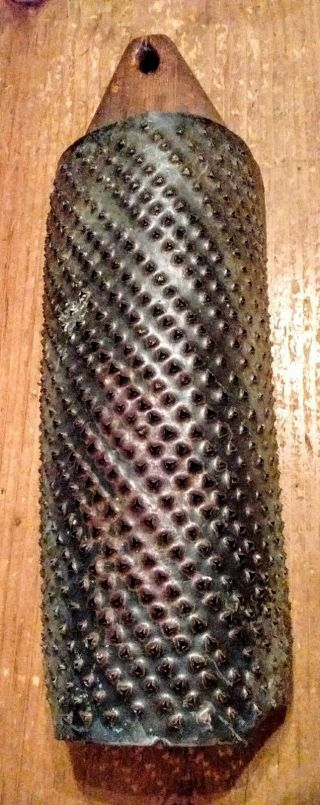 Primitive Antique Tin Grater Mounted On Wood With Square Nails photo