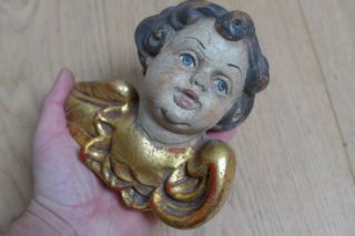 Old Wooden Angel Captured,  Putto,  Wood Carved,  About 1900 photo