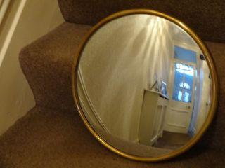 Art Deco Plain Simple Antique Vintage Convex Round Circular Chain Mirror.  Rare photo