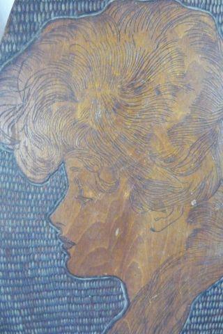 Antique Vtg Art Nouveau Lady Woman Pyrography Wood Burned Wall Plaque Portrait photo