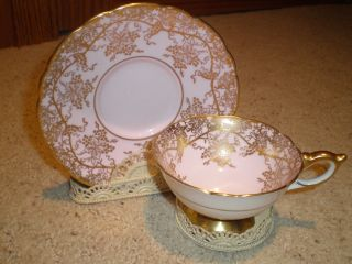 Royal Stafford Tea Cup & Saucer White/pink & Gold Grapevine Trim With Stand photo