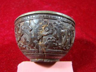 Chinese 1900 ' S Tin And Coconut Carving Wine Cup P383 photo