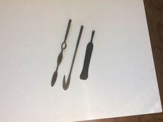 Group Of 3 Old Antique African Spear Heads No Sword Dagger Unique Shapes photo