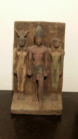 Ancient Egyptian Pharaoh Menkaure With God Hathor & God Amun At Back 2530 - 2470bc photo