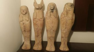 Ancient Egyptian 4 Sons Of Horus (imsety,  Duamutef,  Hapi,  Qebehsenuef) 2510 - 2420bc photo